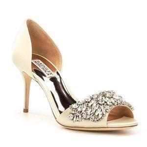 Badgley Mischka Hansen Embellished Satin Heels
